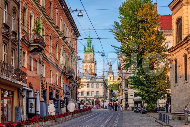 Lviv, Ukraine - 29 July 2019: Historical Old town of Lviv, one of the most visited cities in Ukraine