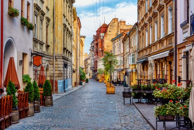 A street in historical Old town of Lviv, Ukraine Stock Photo