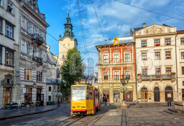 Historical tram in the Old town of Lviv, Ukraine Stock Photo