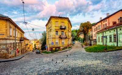 Back laid street in Lviv Old town, Ukraine Stock Photo