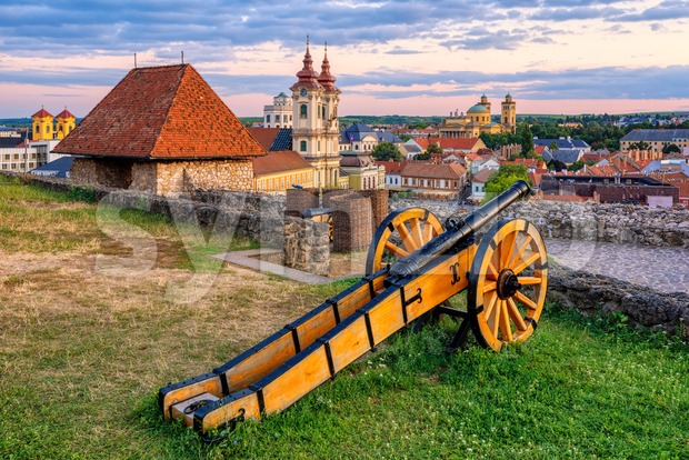 Eger, Hungary, view over medieval Old town from the historical fortress on sunset