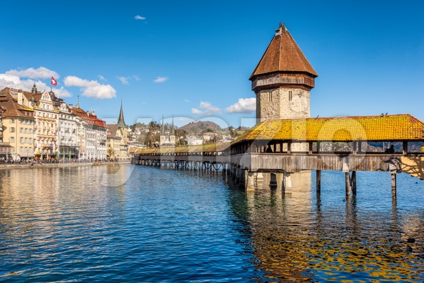 Lucerne, Switzerland, Chapel bridge on a sunny day Stock Photo