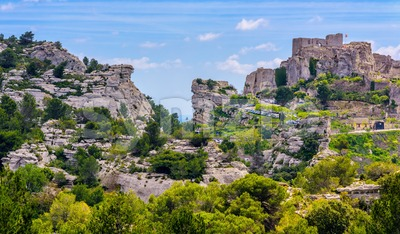 Les Baux-de-Provence rocks and castle, Provence, France Stock Photo