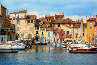 Small harbour in Martigues city, Provence, France Stock Photo