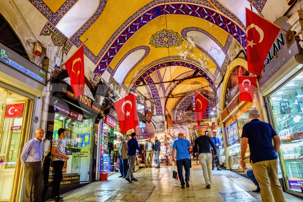 Istanbul, Turkey - October 06 2016: Shops open in the morning in the Istanbul Grand Bazaar, the most famous oriental ...