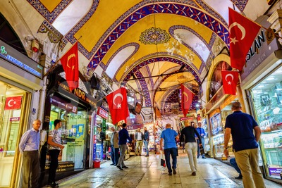 Grand Bazaar covered market in Istanbul, Turkey Stock Photo