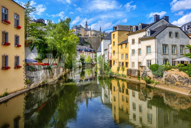 Luxembourg city, the capital of Grand Duchy of Luxembourg, view of the Ctiy center, Old Town, Grund quarter and Alzette ...