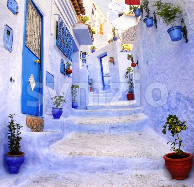 Street in the blue city Chefchaouen, Morocco