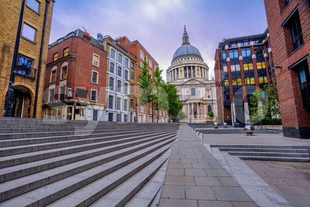 London cityscape with St Paul's Cathedral, England, UK Stock Photo