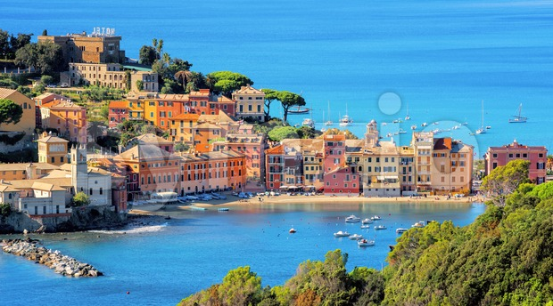 Colorful historical Old town of Sestri Levante, Italy, a picturesque popular resort town in Liguria
