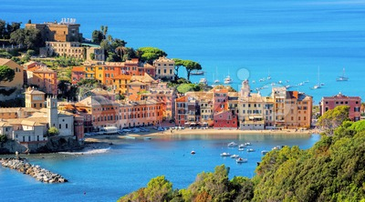 Sestri Levante on Mediterranean sea coast in Italy Stock Photo