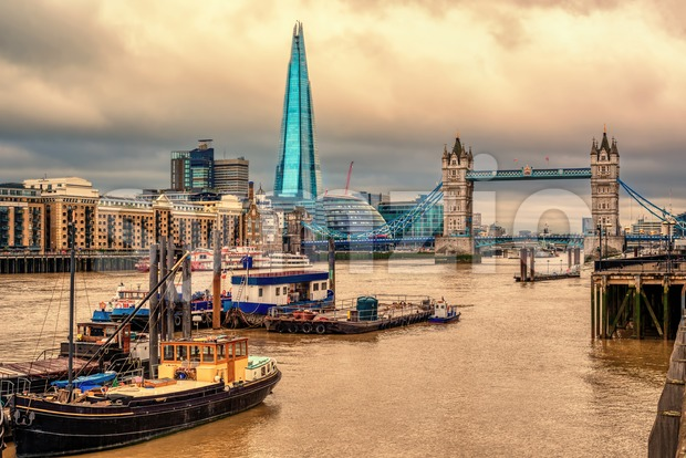 London cityscape on dramatic sunset, England, UK Stock Photo