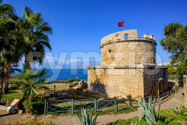 Hidirlik Tower in Antalya, Turkey Stock Photo