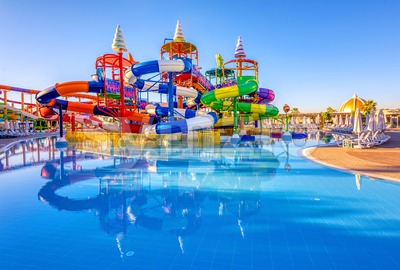 A big colorful inline tube water slide Stock Photo
