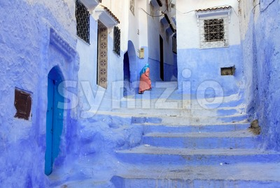 A street in Old town of Chefchaouen, Morocco Stock Photo