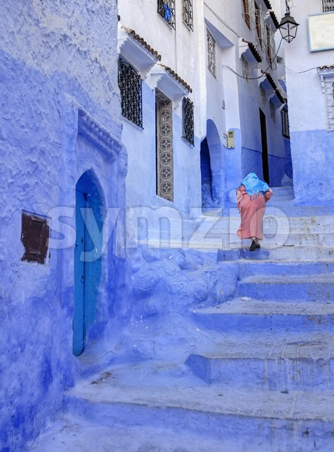 Historical Old town of Chefchaouen, Morocco, famous for its blue colored houses and streets