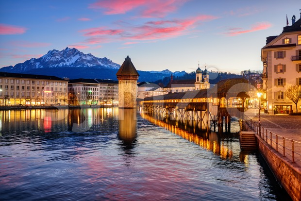 Lucerne, Switzerland, on dramatic sunset Stock Photo