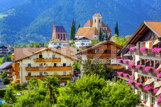 Scena (Schenna) town in South Tyrol, Merano, Italy Stock Photo