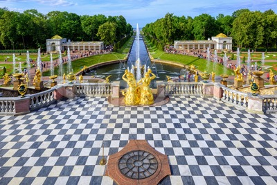 Peterhof Palace park, Saint Petersburg, Russia Stock Photo