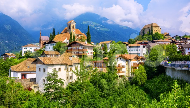 Panoramic view of Schenna town in South Tyrol, Merano, Italy Stock Photo