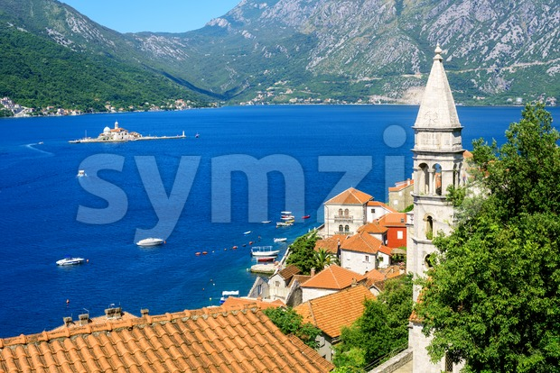 Perast town in Bay of Kotor, Montenegro Stock Photo