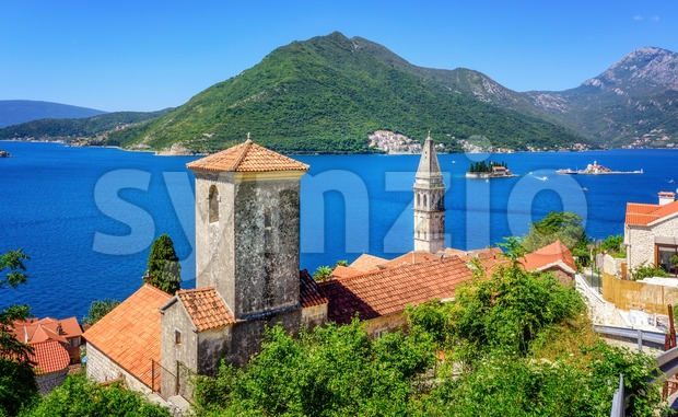 Perast town in the Bay of Kotor, Montenegro Stock Photo