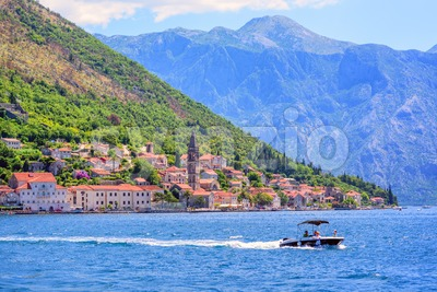 Perast town and the Bay of Kotor, Montenegro Stock Photo