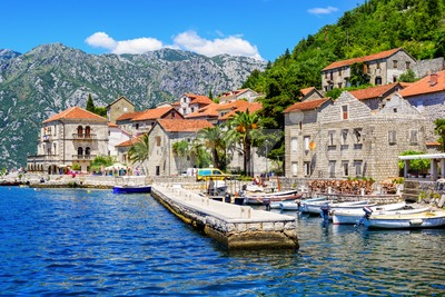 Perast, tourist resort town in the Bay of Kotor, Montenegro Stock Photo