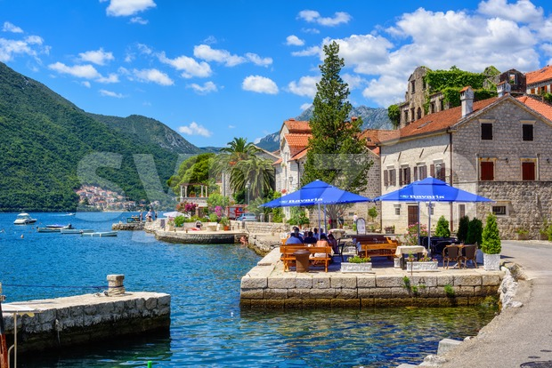 Watefront in Perast town, Bay of Kotor, Montenegro Stock Photo