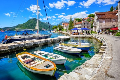 Marina of Perast town, Bay of Kotor, Montenegro Stock Photo
