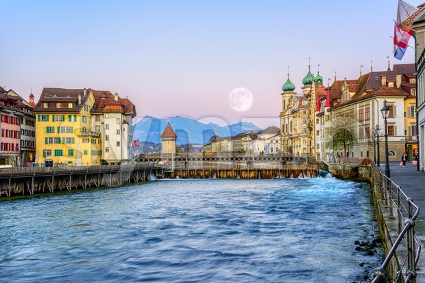 Old town of Lucerne in pink evening light, Switzerland Stock Photo