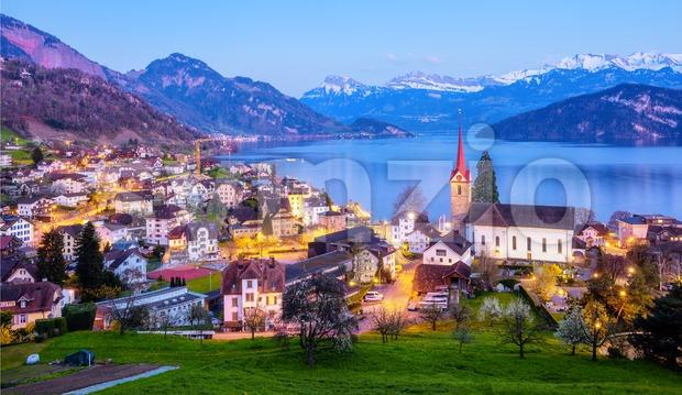 Weggis, a picturesque village on Lake Lucerne Switzerland, on late evening. Weggis is a popular tourist destination in the swiss ...
