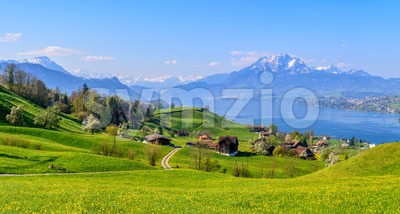 Lake Lucerne and Mount Pilatus in spring time, Switzerland Stock Photo