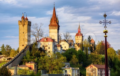 The medieval towers of Lucerne, Switzerland Stock Photo