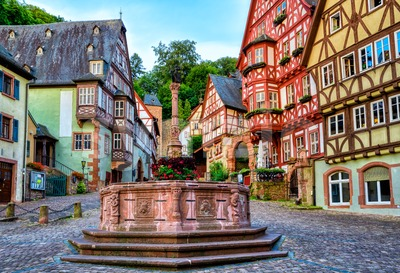 Half-timbered medieval Old town of Miltenberg, Germany Stock Photo