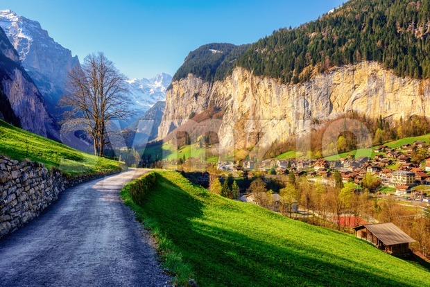 Lauterbrunnen village in swiss Alps mountains, Switzerland Stock Photo