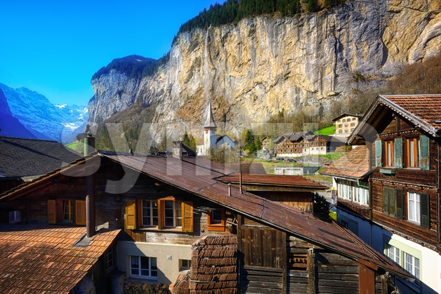 Historical Lauterbrunnen in swiss Alps mountains, Switzerland Stock Photo