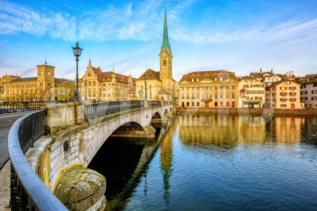 Zurich city skyline, view over Limmat river with Frauenmunster church, Switzerland