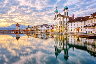 Lucerne Old town on dramatic sunrise, Switzerland Stock Photo