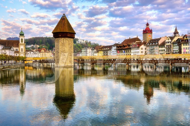 Lucerne, Switzerland, view of the Old town with wooden Chapel bridge, an iconic historical landmark of the city
