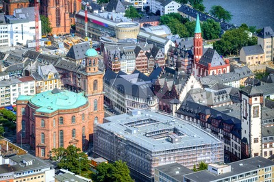 Frankfurt on Main city, Germany, aerial view of the Old town Stock Photo