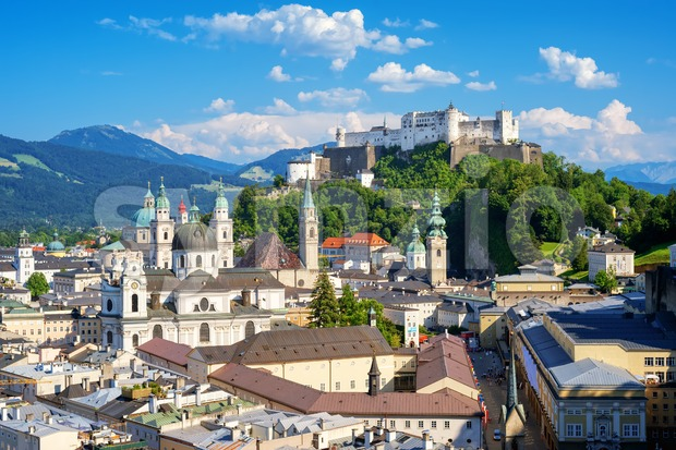 Salzburg city, Austria, view of the Old Town and Festung Hohensalzburg castle on a beautiful sunny day. Salzburg is a ...