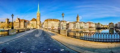 Panoramic view of Zurich city, Switzerland Stock Photo