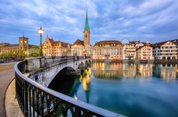 Zurich historical city center, Fraumunster church and bridge over Limmat river, Switzerland