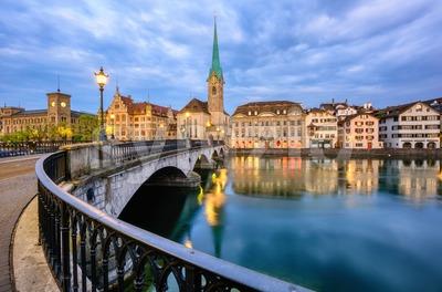Zurich historical city center with Fraumunster church, Switzerland Stock Photo