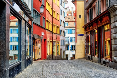 A colorful street in Zurich city center, Switzerland Stock Photo
