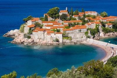 Sveti Stefan island town, Montenegro Stock Photo