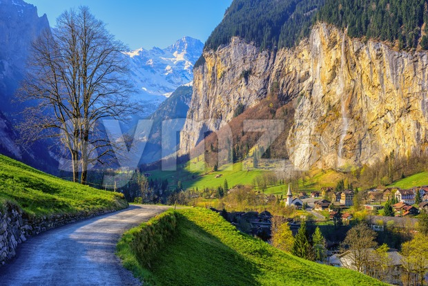 Lauterbrunnen village in a valley in swiss Alps mountains, Bernese Highlands, Jungfrau region, is one of the most popular tourist ...