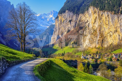Lauterbrunnen valley in swiss Alps mountains, Switzerland Stock Photo