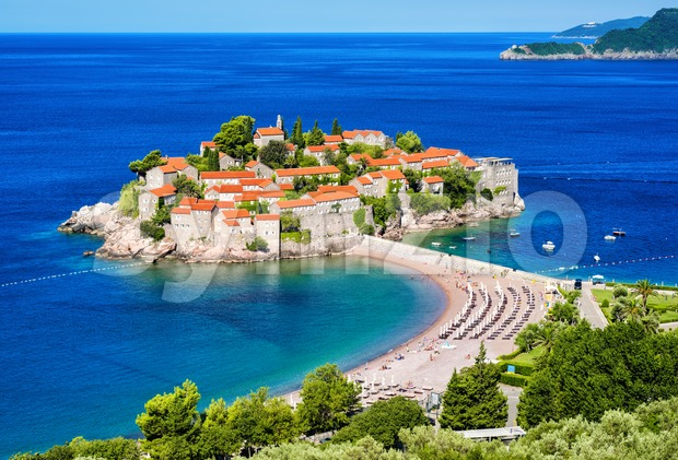 Sveti Stefan island resort town, Montenegro Stock Photo
